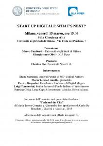 Invito incontro start up 15 marzo Statale