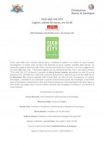 invito Cagliari 16 marzo Tech and the City